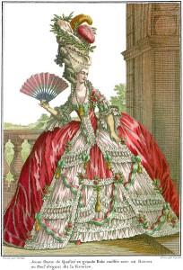 Nymphenburg und seine Bewohner: Nach neuester französischer Mode gekleidet präsentierten sich die Hofdamen in Bayerns Schlössern. Turmhohe Frisuren mußten kunstvoll jongliert werden. Ein Nickerchen zwischendurch war schwer möglich.